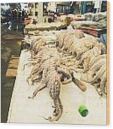 Octopus Sale In Korea Market Wood Print
