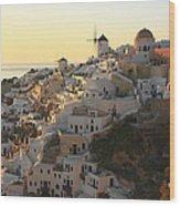 Oia At Sunset Santorini Cyclades Greece  Wood Print