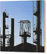Oil Refinery Wood Print