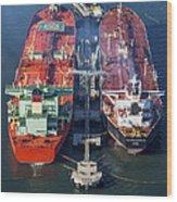 Oil Tankers Docked At Oil Pier, Down Wood Print
