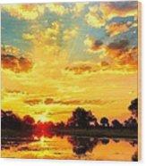 Okavango Delta Sunset Wood Print