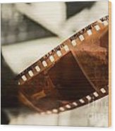 Old Film Strip And Photos Background Wood Print
