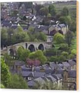 Old Stirling Bridge And Houses As Visible From Stirling Castle Wood Print
