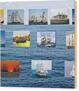 Old Tall Ships Wood Print