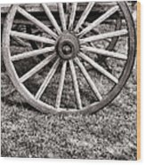 Old Wagon Wheel On Cart Wood Print