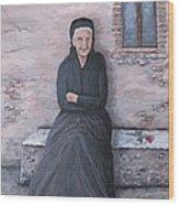 Old Woman Waiting Wood Print