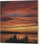 Outer Banks Sunset Over Bay And Colington Island Wood Print