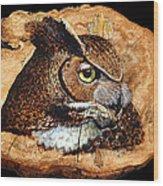 Owl On Oak Slab Wood Print
