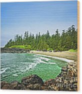 Pacific Ocean Coast On Vancouver Island Wood Print