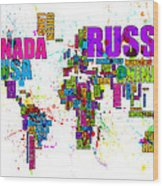 Paint Splashes Text Map Of The World Wood Print