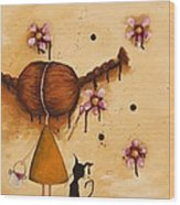 Painting Flowers Wood Print