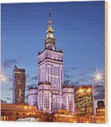 Palace Of Culture And Science At Dusk In Warsaw Wood Print by Artur Bogacki