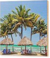 Palm Trees And Sea Wood Print