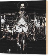 Pancho Villa With Cross Thatched Bandolier Rebel Camp No Locale Or Date-2013 Wood Print
