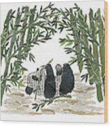 Panda Bear In Bamboo Bush Hand-torn Newspaper Collage Art  Wood Print