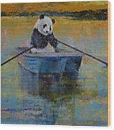 Panda Reflections Wood Print by Michael Creese