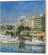 Panoramic Painting Of Pasalimani Port Wood Print