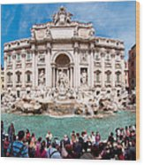 Panoramic View Of Fontana Di Trevi In Rome Wood Print