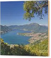 Panoramic View Over An Alpine Lake Wood Print