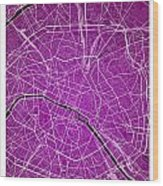 Paris Street Map - Paris France Road Map Art On Colored Backgrou Wood Print