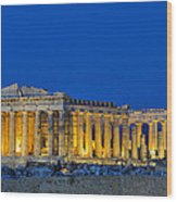 Parthenon In Acropolis Of Athens During Dusk Time Wood Print