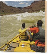 Passenger View Of People Rafting Wood Print