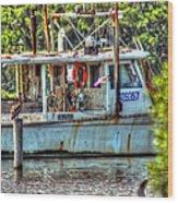 Pelican And Fishing Boat Wood Print