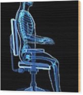Person Sitting With Incorrect Posture Wood Print