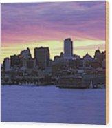 Philadelphia Skyline At Dusk Wood Print