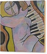 Pianos And Guitars Wood Print by Chaline Ouellet