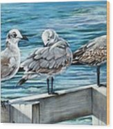 Pier Gulls Wood Print