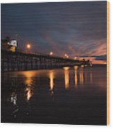 Pier In The Pacific Ocean At Dusk, San Wood Print