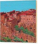 Pitigliano Village Wood Print
