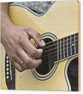 Playing Guitar Wood Print