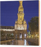 Plaza De Espana Tower In Seville Wood Print