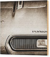 Plymouth Barracuda Grille Emblem Wood Print