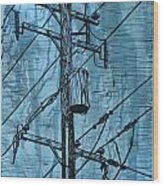 Pole With Transformer Wood Print