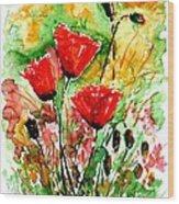 Poppy Lawn Wood Print