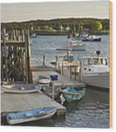 Port Clyde Maine Boats And Harbor Wood Print