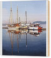 Port Orchard Marina Reflections Wood Print