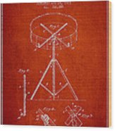 Portable Drum Patent Drawing From 1903 - Red Wood Print by Aged Pixel
