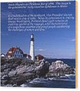 Portland Head Lighthouse Wood Print by Skip Willits