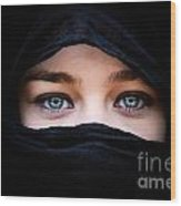 Portrait Of Beautiful Woman With Blue Eyes Wearing Black Scarf Wood Print