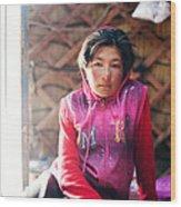 Portrait Of Young Kyrgyz Girl Inside A Yurt China Wood Print
