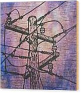 Power Lines Wood Print