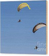 Powered Paraglider Wood Print