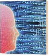 Printed Circuit Board And Wireframe Head Wood Print