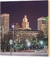 Providence Rhode Island Skyline At Night Wood Print