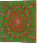 Psychedelic Spiral Vortex Green And Red Fractal Flame Wood Print