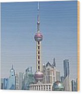Pudong Skyline In Shanghai China Wood Print